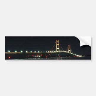 Mackinaw Bridge lit up at night Car Bumper Sticker