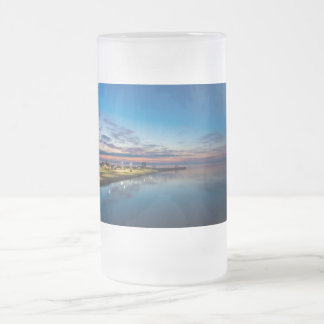 Mackinaw City Dawn Frosted Glass Beer Mug