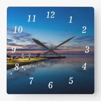 Mackinaw City Dawn Square Wall Clock