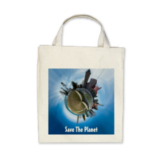 Mackinaw City, MI Save the Planet Tote Canvas Bags