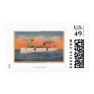 Mackinaw City, MI - View of City of Cheboygan Postage Stamp