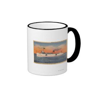 Mackinaw City, MI - View of City of Cheboygan Ringer Mug