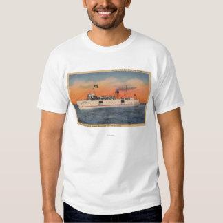 Mackinaw City, MI - View of City of Cheboygan T-Shirt