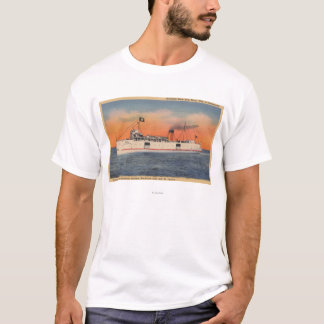 Mackinaw City, MI - View of City of Cheboygan T-Shirt