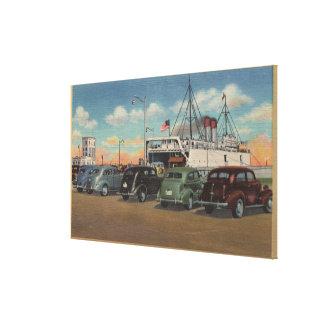 Mackinaw City, MI - View of MI State Ferry Dock Canvas Print