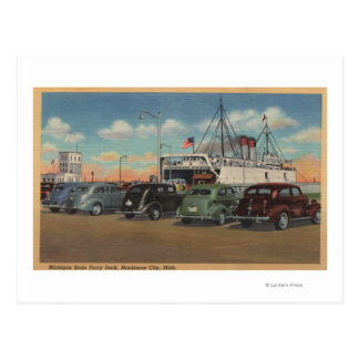 Mackinaw City MI - View of MI State Ferry Dock Postcard