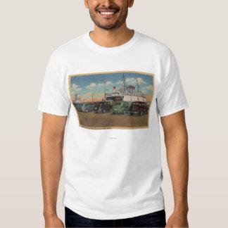 Mackinaw City, MI - View of MI State Ferry Dock T-Shirt