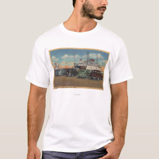 Mackinaw City, MI - View of MI State Ferry Dock T-Shirt