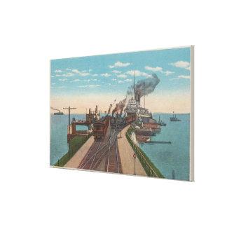 Mackinaw City, MI - View of Railway Ferry Docks Canvas Print