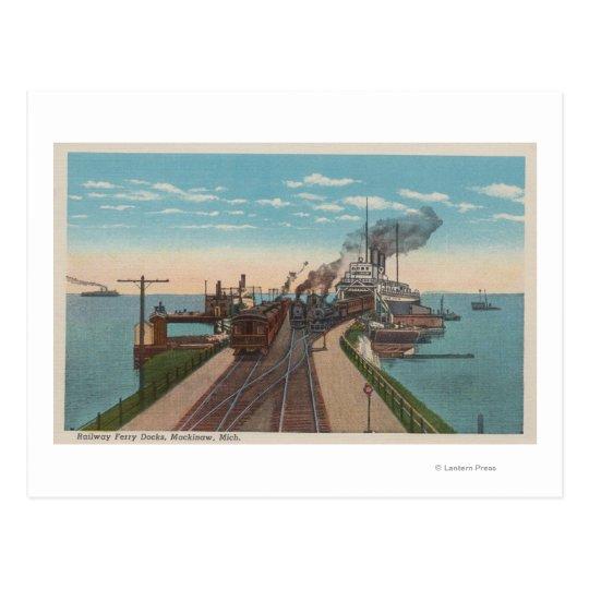 Mackinaw City, MI - View of Railway Ferry Docks Postcard