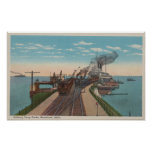 Mackinaw City, MI - View of Railway Ferry Docks Poster