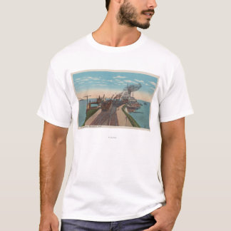 Mackinaw City, MI - View of Railway Ferry Docks T-Shirt