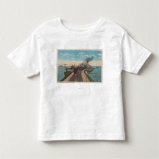 Mackinaw City, MI - View of Railway Ferry Docks T Shirt