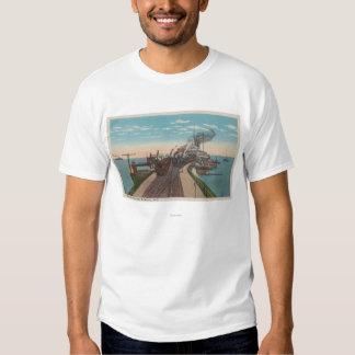 Mackinaw City, MI - View of Railway Ferry Docks Tee Shirt