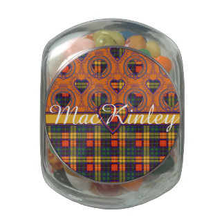MacKinley clan Plaid Scottish kilt tartan Glass Candy Jar