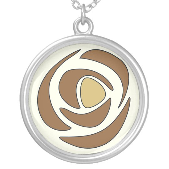 Mackinrose Copper Art Nouveau Rose Silver Plated Necklace