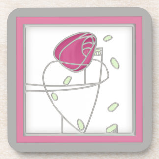 Mackintosh Rose Art Nouveau Flowers in Pink Drink Coasters