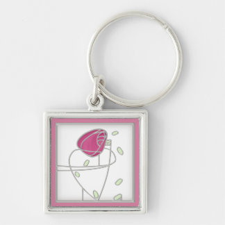 Mackintosh Rose Art Nouveau Flowers in Pink Keychain