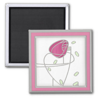 Mackintosh Rose Art Nouveau Flowers in Pink Magnet