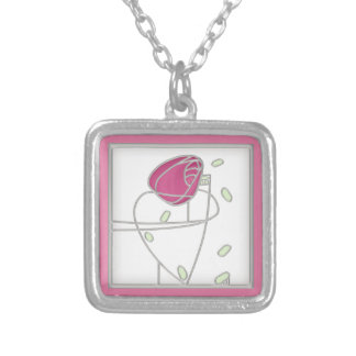 Mackintosh Rose Art Nouveau Flowers in Pink Silver Plated Necklace