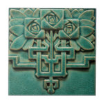 """Mackintosh Rose Faux Relief Arts & Crafts Repro Ceramic Tile<br><div class=""""desc"""">Gorgeous color and dimensional look to this rustic tile. Copied from an original antique more than 100 years old, this Arts & Crafts period tile is perfect for craftsman, bungalow, mission, and shabby chic decorating styles. It also shows some Asian influence. The color is shades of turquoise blue on natural....</div>"""
