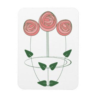 Mackintosh Style Roses Design in Pink and Green Magnet