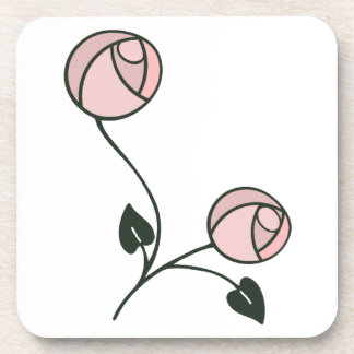 Mackintosh Style Roses Design in Pink and Mauve Beverage Coaster