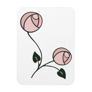 Mackintosh Style Roses Design in Pink and Mauve Magnet