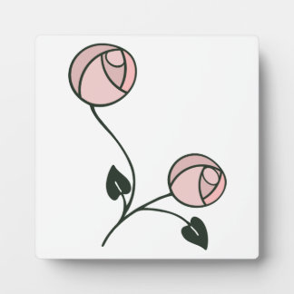 Mackintosh Style Roses Design in Pink and Mauve Plaque