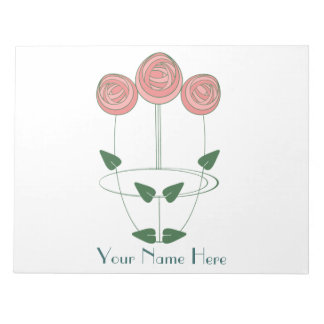 Mackintosh Style Roses Design in Pink & Green Notepad