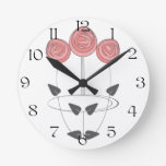 Mackintosh Style Roses in Pinks and Greys Round Wall Clock