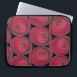 """Mackintosh Style Roses Pattern in Pink and Red Laptop Sleeve<br><div class=""""desc"""">A simple,  stylized geometric Art Nouveau roses pattern in feminine pink and red. Inspired by the Glasgow Style of Charles Rennie Mackintosh.</div>"""