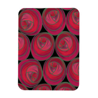Mackintosh Style Roses Pattern in Pink and Red Magnet