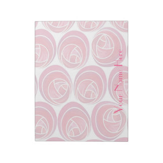 Mackintosh Style Roses Pattern in Pink and White Notepad