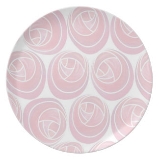 Mackintosh Style Roses Pattern in Pink and White Plate