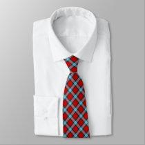 MacLaine Clan Tartan Bright Red and Sky Blue Plaid Neck Tie