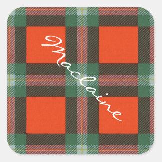 Maclaine del tartán del escocés de Lochbuie Pegatina Cuadrada