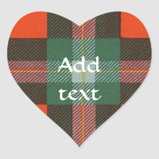 Maclaine del tartán del escocés de Lochbuie Pegatina En Forma De Corazón