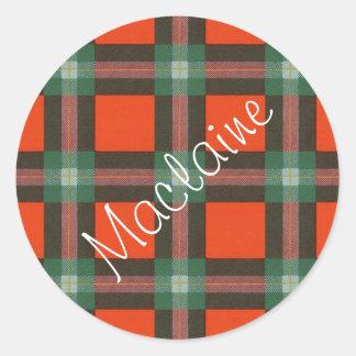 Maclaine del tartán del escocés de Lochbuie Pegatina Redonda