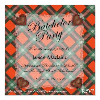 """Maclaine del tartán escocés del clan de Lochbuie - Invitación 5.25"""" X 5.25"""""""
