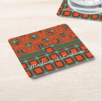 Maclaine of Lochbuie clan Plaid Scottish tartan Square Paper Coaster