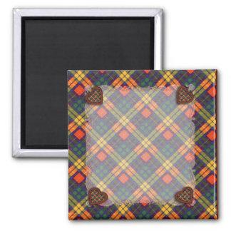 MacLea clan Plaid Scottish kilt tartan 2 Inch Square Magnet