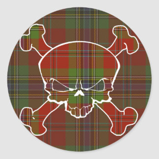 MacLean Tartan Skull No Banner Classic Round Sticker