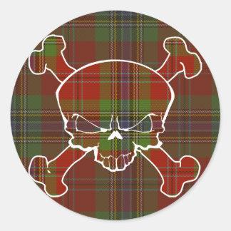 MacLean Tartan Skull No Banner Sticker