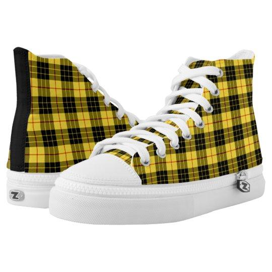08be0f435f MacLeod Clan Tartan Yellow and Black Plaid Hi-Top   Zazzle.com