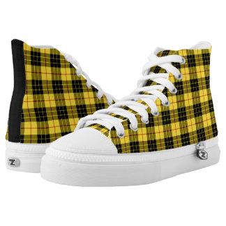 MacLeod Clan Tartan Yellow and Black Plaid Hi-Top Printed Shoes