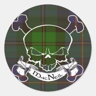 MacNeil Tartan Skull Classic Round Sticker