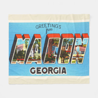 Macon Georgia GA Old Vintage Travel Souvenir Fleece Blanket