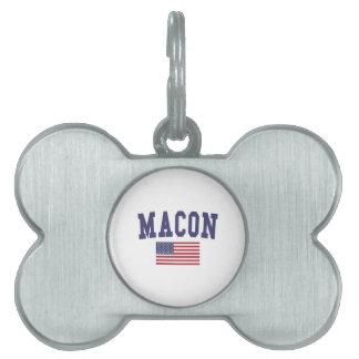 Macon US Flag Pet Name Tag