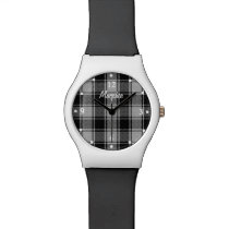 MacPhee Plaid Black and White Custom Wrist Watch